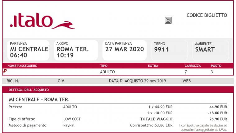 Train Ticket Italy Rome Milan