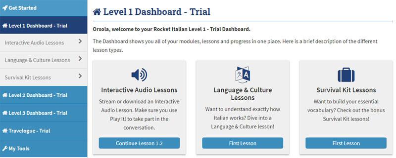 Rocket Italian Dashboard Level 1