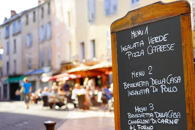 Learn Italian Online Toursit Menu