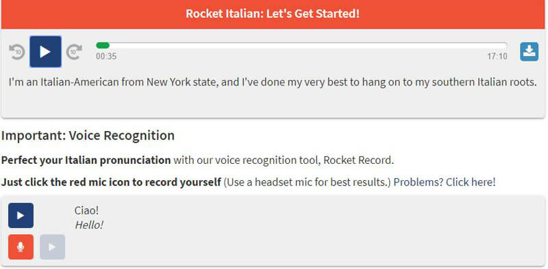 Rocket Italian Voice Recognition