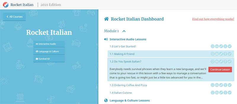 Rocket Italian Dashboard Level 1 2021